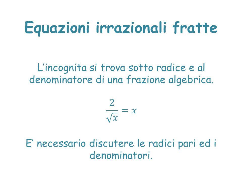 Equazioni irrazionali fratte E' necessario discutere le radici pari ed i denominatori.