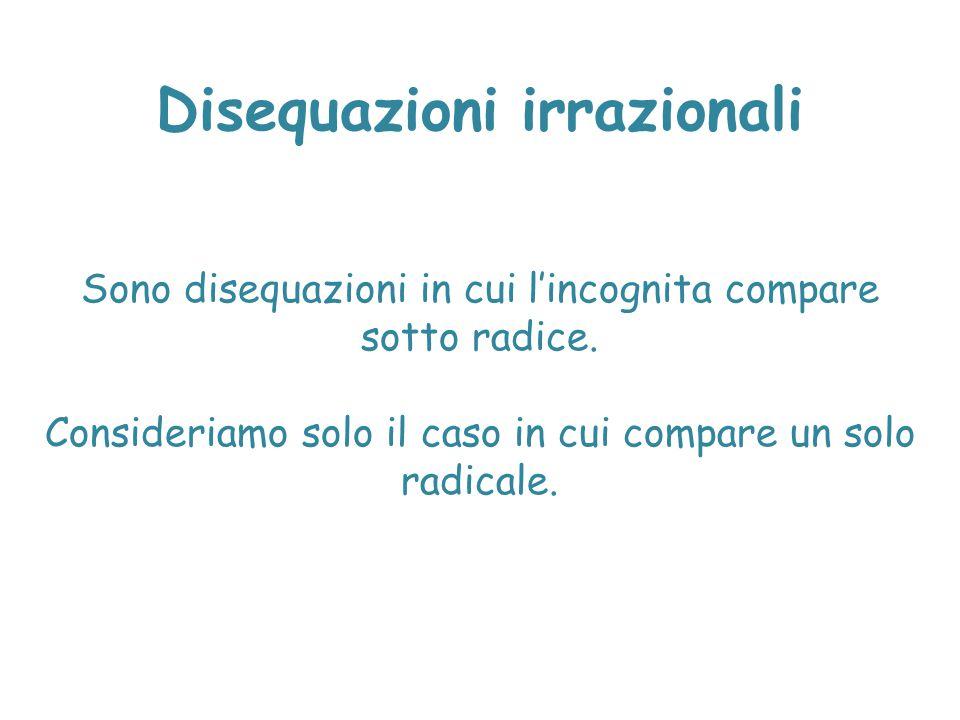 Disequazioni irrazionali Sono disequazioni in cui l'incognita compare sotto radice. Consideriamo solo il caso in cui compare un solo radicale.