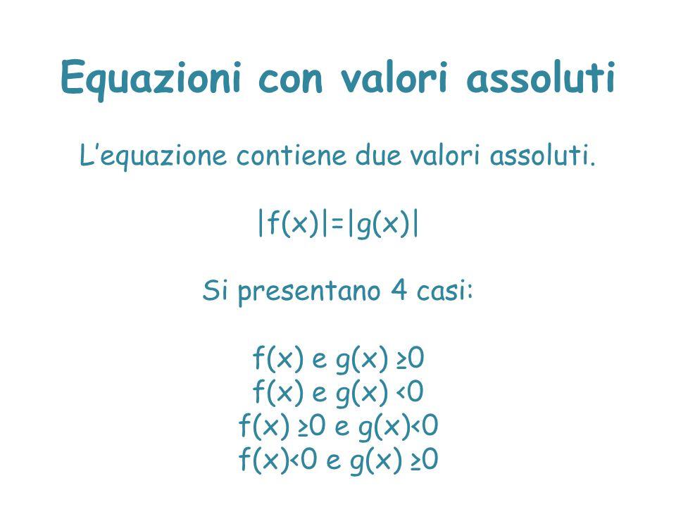 L'equazione contiene due valori assoluti. |f(x)|=|g(x)| Si presentano 4 casi: f(x) e g(x) ≥0 f(x) e g(x) <0 f(x) ≥0 e g(x)<0 f(x)<0 e g(x) ≥0