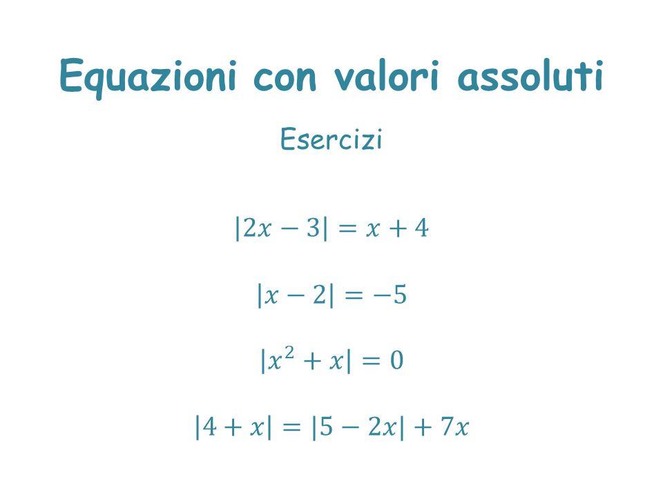 Equazioni con valori assoluti Esercizi