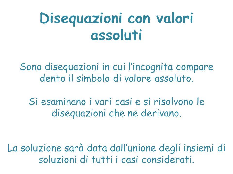 Disequazioni con valori assoluti Sono disequazioni in cui l'incognita compare dento il simbolo di valore assoluto. Si esaminano i vari casi e si risol