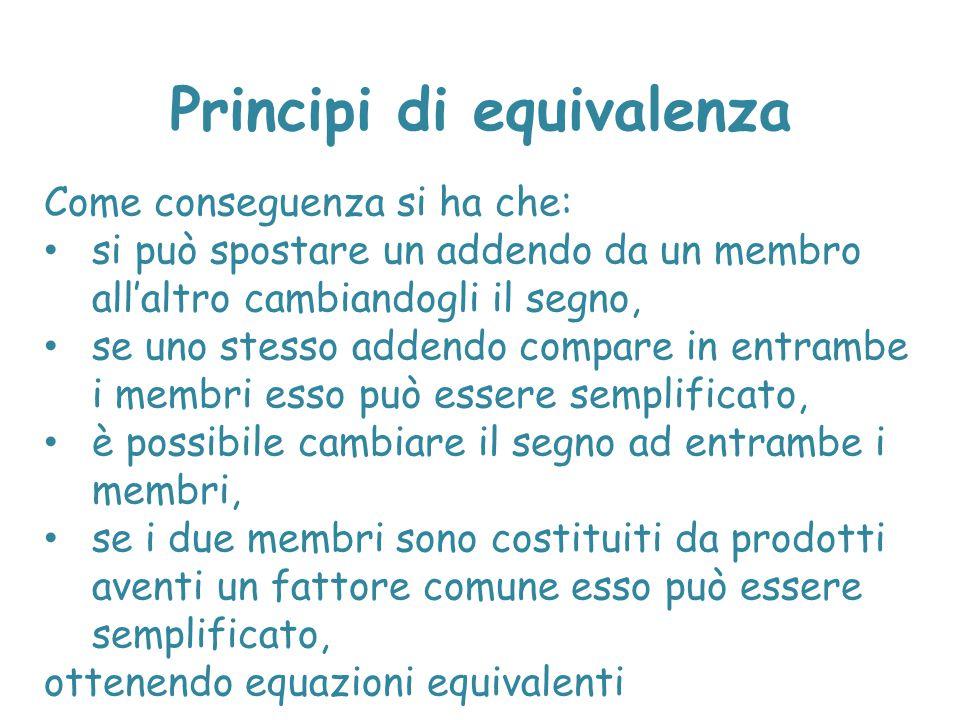 Principi di equivalenza Per risolvere una disequazione, cioè determinarne le soluzioni, si applicano due principi di equivalenza: 1.Addizionando o sottraendo a entrambe i membri dell'equazione uno stesso temine (numero o espressione contenente l'incognita che risulti definita per ogni valore dell'incognita) si ottiene una equazione equivalente a quella data.