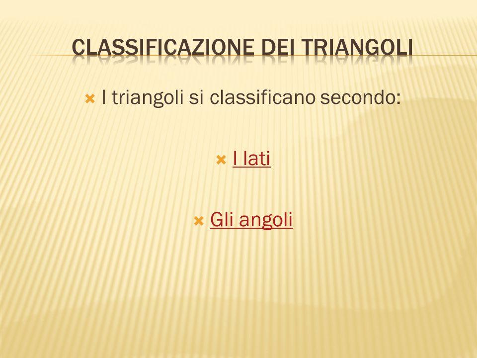  I triangoli si classificano secondo:  I lati I lati  Gli angoli Gli angoli