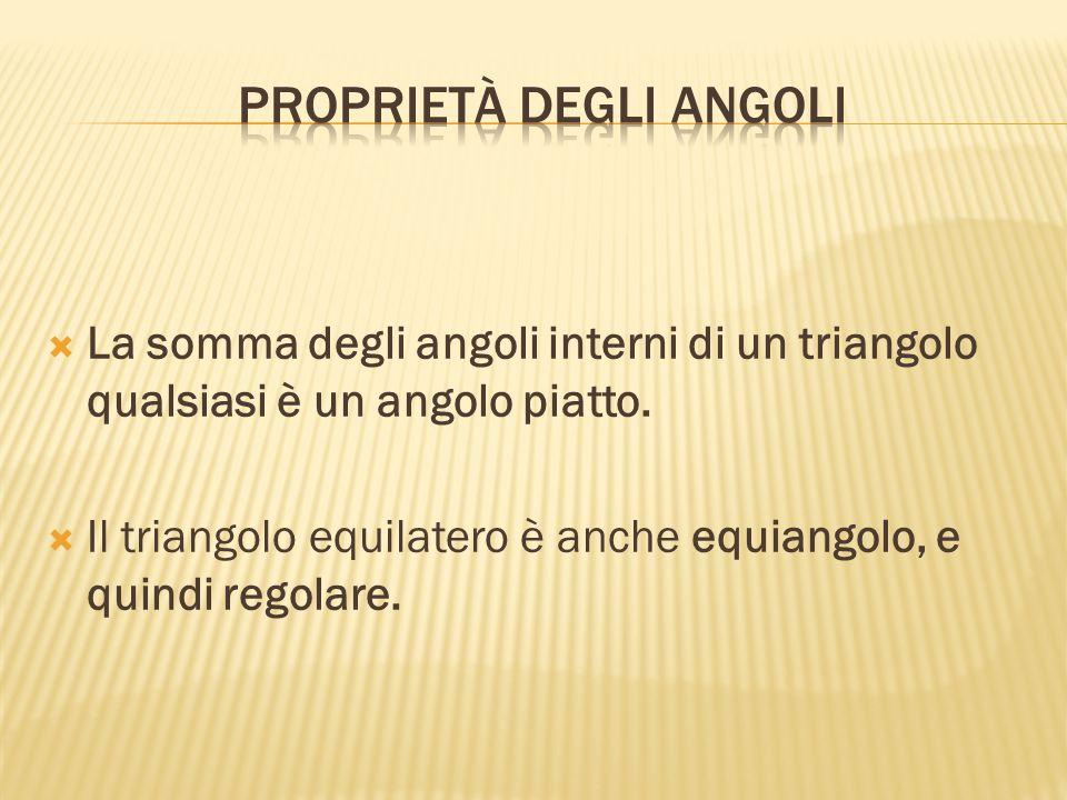  La somma degli angoli interni di un triangolo qualsiasi è un angolo piatto.