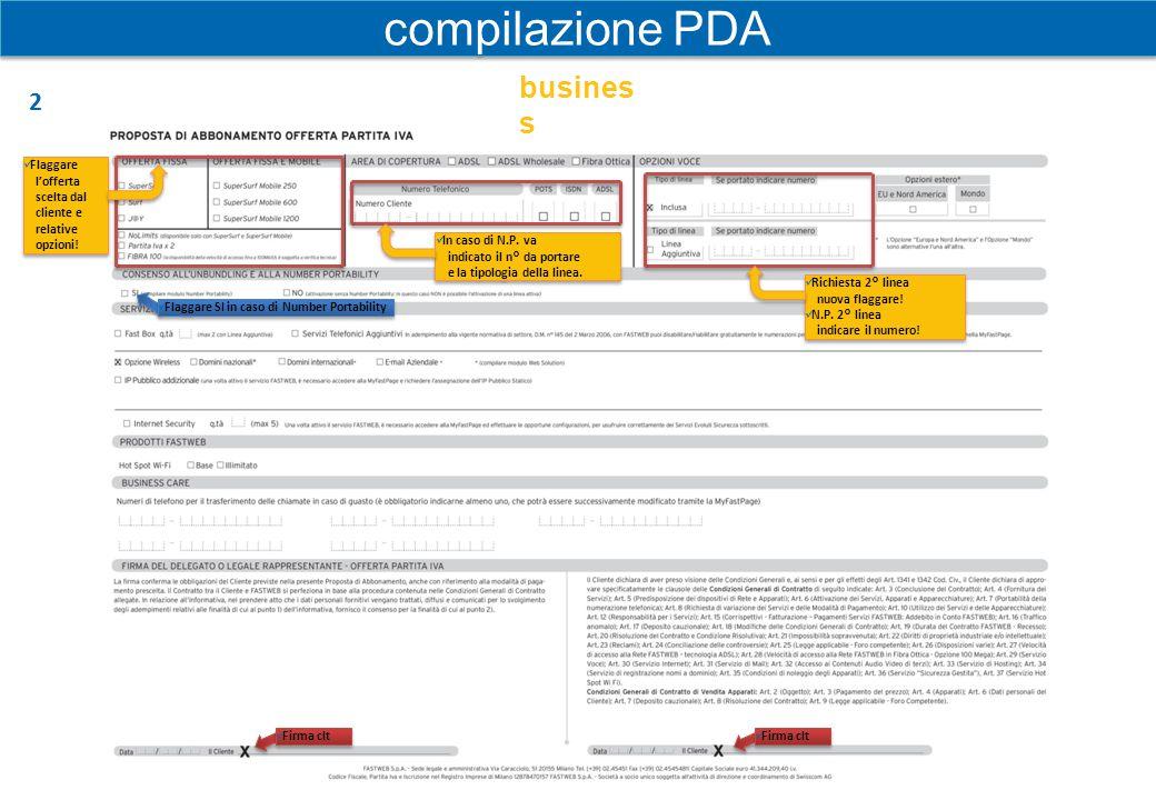 Dati del richiedente o Vecchio Intestatario Numeri da portare Codice migrazione in caso di N.P.