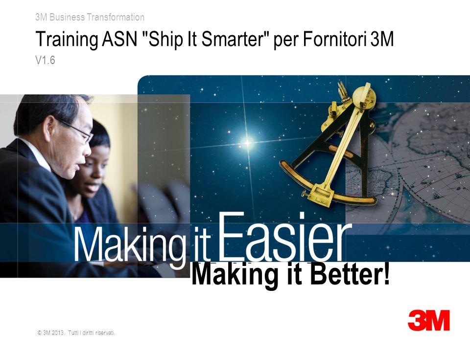 3M Business Transformation © 3M 2013. Tutti i diritti riservati. Training ASN