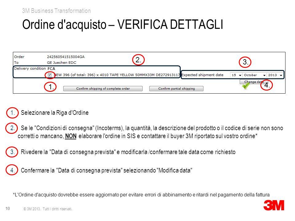 3M Business Transformation 10 © 3M 2013. Tutti i diritti riservati. Ordine d'acquisto – VERIFICA DETTAGLI 1. Selezionare la Riga d'Ordine 2. Se le