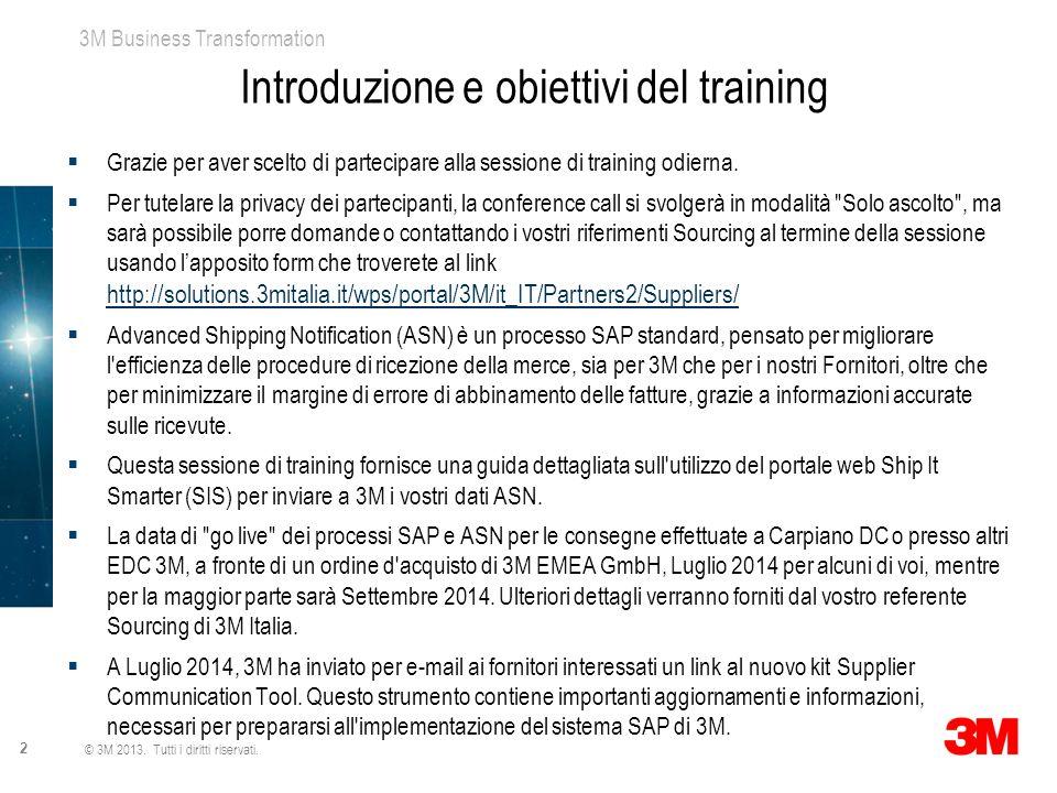 3M Business Transformation 2 © 3M 2013. Tutti i diritti riservati. Introduzione e obiettivi del training  Grazie per aver scelto di partecipare alla