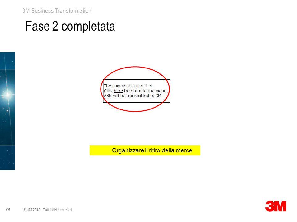 3M Business Transformation 29 © 3M 2013. Tutti i diritti riservati. Organizzare il ritiro della merce Fase 2 completata