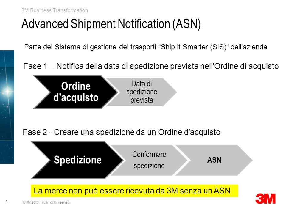 """3M Business Transformation 3 © 3M 2013. Tutti i diritti riservati. Advanced Shipment Notification (ASN) Parte del Sistema di gestione dei trasporti """"S"""