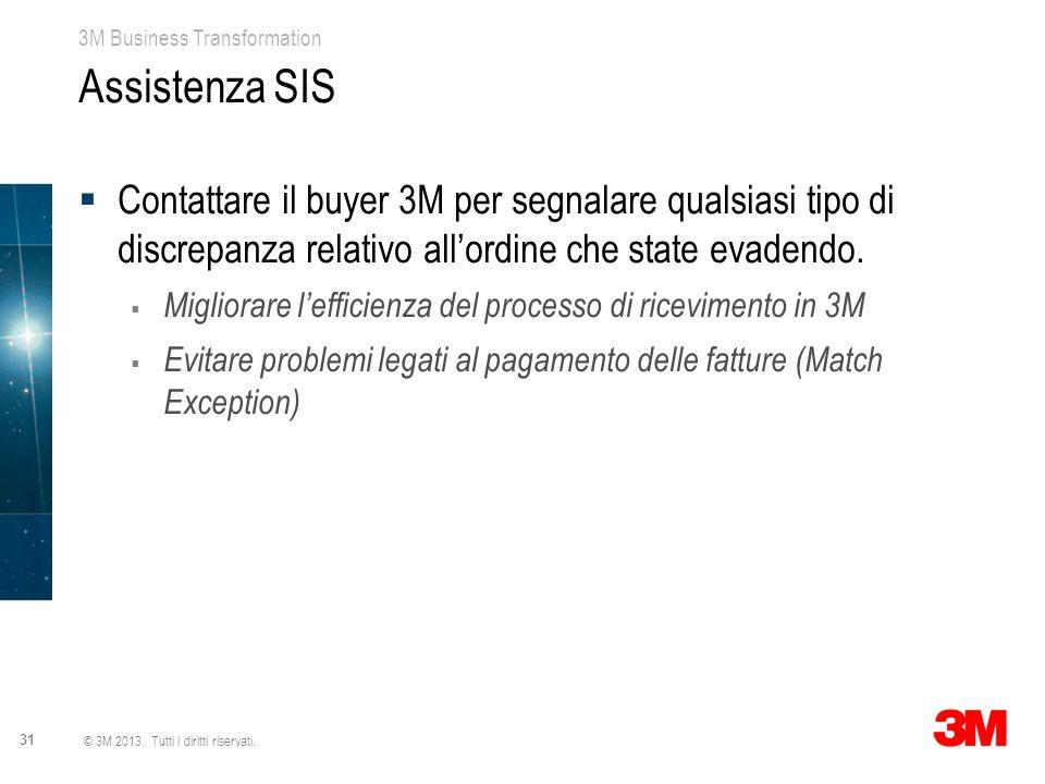 3M Business Transformation 31 © 3M 2013. Tutti i diritti riservati. Assistenza SIS  Contattare il buyer 3M per segnalare qualsiasi tipo di discrepanz