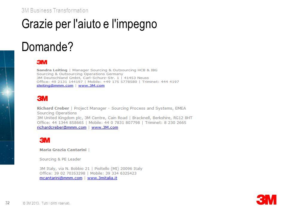 3M Business Transformation 32 © 3M 2013. Tutti i diritti riservati. Grazie per l'aiuto e l'impegno Domande?