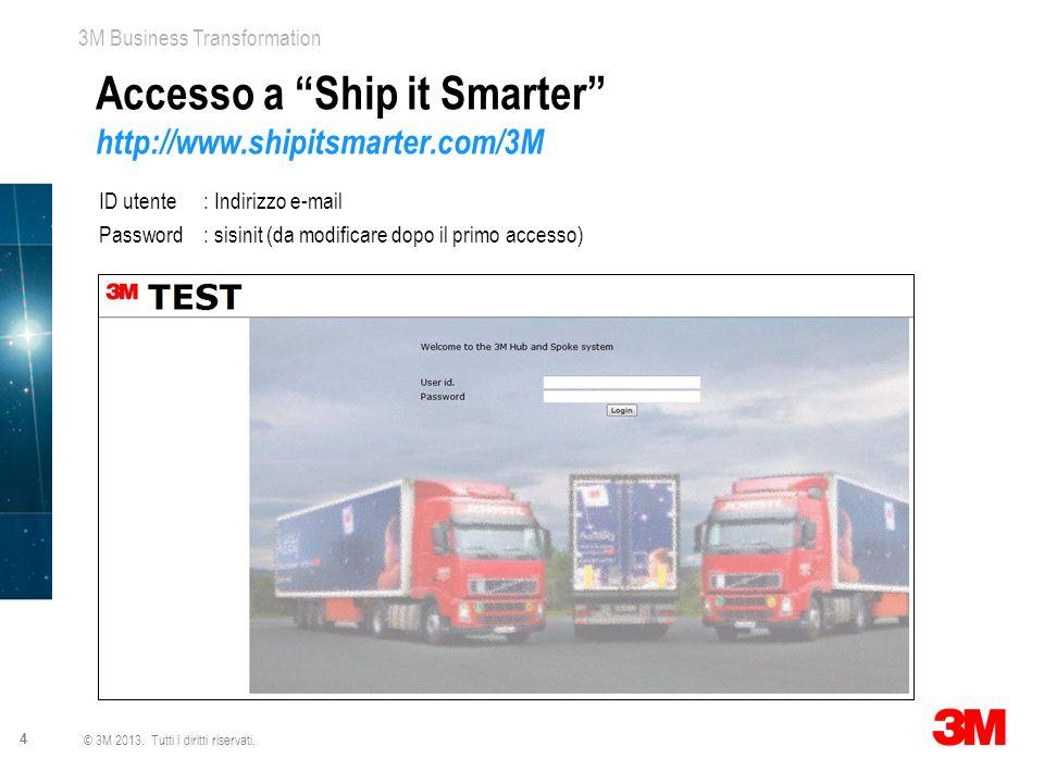 """3M Business Transformation 4 © 3M 2013. Tutti i diritti riservati. Accesso a """"Ship it Smarter"""" http://www.shipitsmarter.com/3M ID utente: Indirizzo e-"""