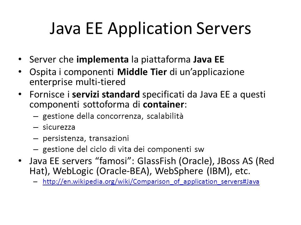 Java EE Application Servers Server che implementa la piattaforma Java EE Ospita i componenti Middle Tier di un'applicazione enterprise multi-tiered Fornisce i servizi standard specificati da Java EE a questi componenti sottoforma di container: – gestione della concorrenza, scalabilità – sicurezza – persistenza, transazioni – gestione del ciclo di vita dei componenti sw Java EE servers famosi : GlassFish (Oracle), JBoss AS (Red Hat), WebLogic (Oracle-BEA), WebSphere (IBM), etc.