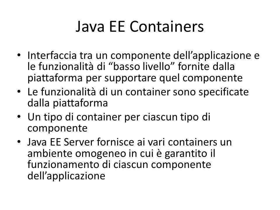 Java EE Containers Interfaccia tra un componente dell'applicazione e le funzionalità di basso livello fornite dalla piattaforma per supportare quel componente Le funzionalità di un container sono specificate dalla piattaforma Un tipo di container per ciascun tipo di componente Java EE Server fornisce ai vari containers un ambiente omogeneo in cui è garantito il funzionamento di ciascun componente dell'applicazione