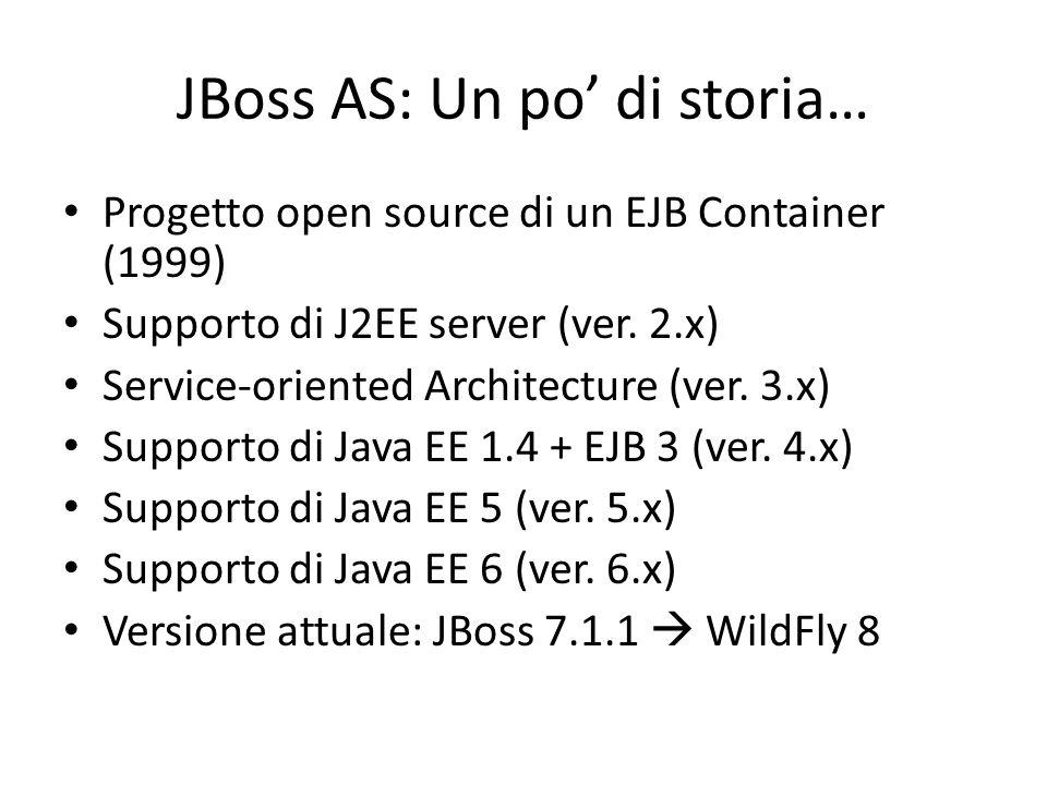 JBoss AS: Un po' di storia… Progetto open source di un EJB Container (1999) Supporto di J2EE server (ver.
