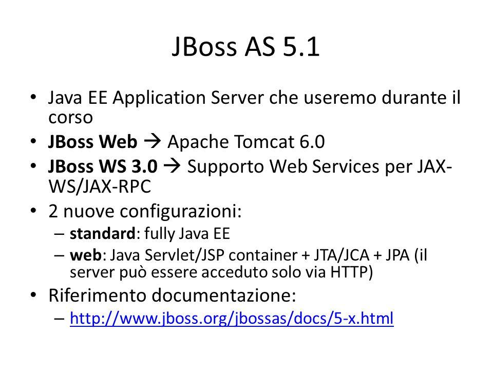 JBoss AS 5.1 Java EE Application Server che useremo durante il corso JBoss Web  Apache Tomcat 6.0 JBoss WS 3.0  Supporto Web Services per JAX- WS/JAX-RPC 2 nuove configurazioni: – standard: fully Java EE – web: Java Servlet/JSP container + JTA/JCA + JPA (il server può essere acceduto solo via HTTP) Riferimento documentazione: – http://www.jboss.org/jbossas/docs/5-x.html http://www.jboss.org/jbossas/docs/5-x.html