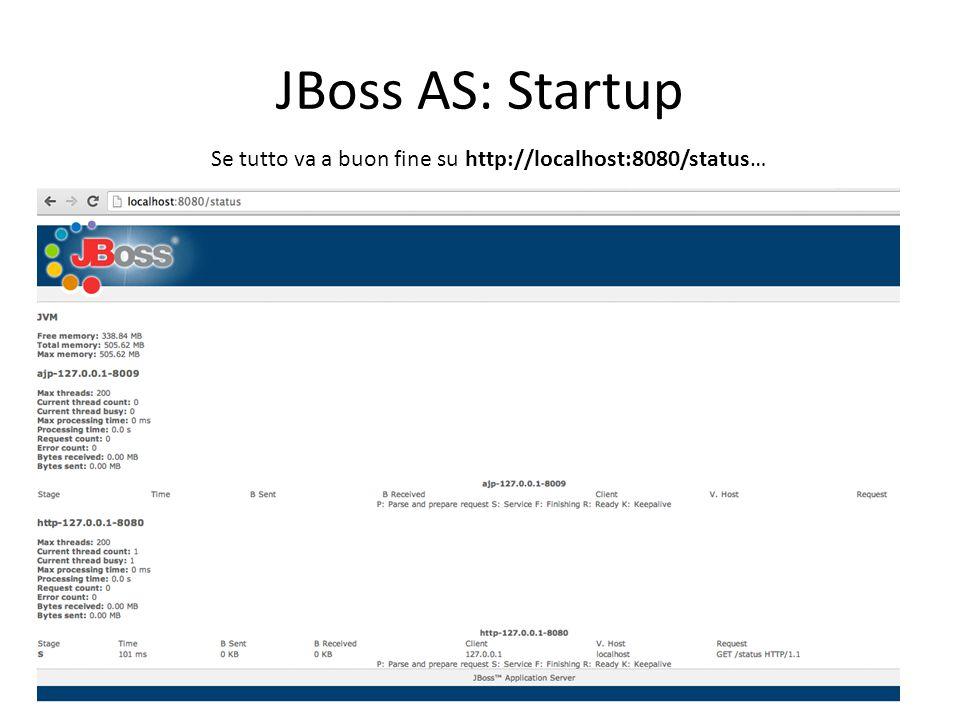 JBoss AS: Startup Se tutto va a buon fine su http://localhost:8080/status…