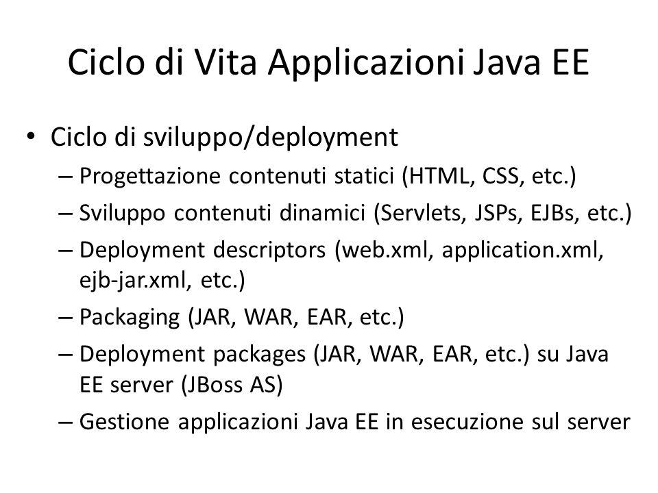Ciclo di Vita Applicazioni Java EE Ciclo di sviluppo/deployment – Progettazione contenuti statici (HTML, CSS, etc.) – Sviluppo contenuti dinamici (Servlets, JSPs, EJBs, etc.) – Deployment descriptors (web.xml, application.xml, ejb-jar.xml, etc.) – Packaging (JAR, WAR, EAR, etc.) – Deployment packages (JAR, WAR, EAR, etc.) su Java EE server (JBoss AS) – Gestione applicazioni Java EE in esecuzione sul server
