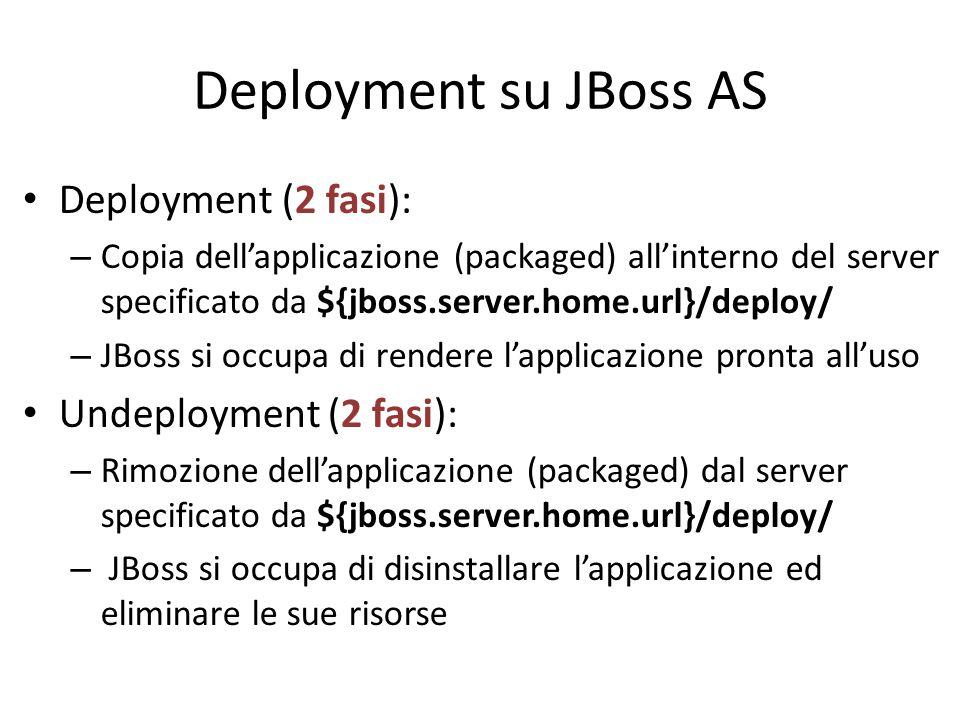 Deployment su JBoss AS Deployment (2 fasi): – Copia dell'applicazione (packaged) all'interno del server specificato da ${jboss.server.home.url}/deploy/ – JBoss si occupa di rendere l'applicazione pronta all'uso Undeployment (2 fasi): – Rimozione dell'applicazione (packaged) dal server specificato da ${jboss.server.home.url}/deploy/ – JBoss si occupa di disinstallare l'applicazione ed eliminare le sue risorse