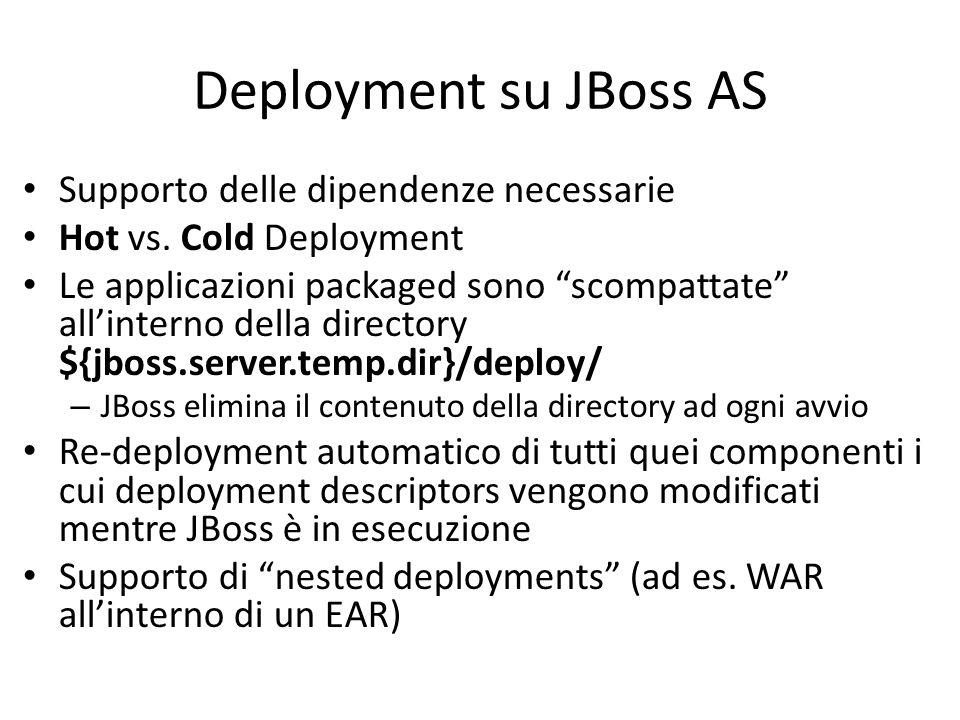 Deployment su JBoss AS Supporto delle dipendenze necessarie Hot vs.