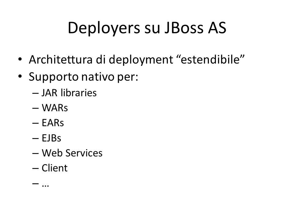 Deployers su JBoss AS Architettura di deployment estendibile Supporto nativo per: – JAR libraries – WARs – EARs – EJBs – Web Services – Client – …