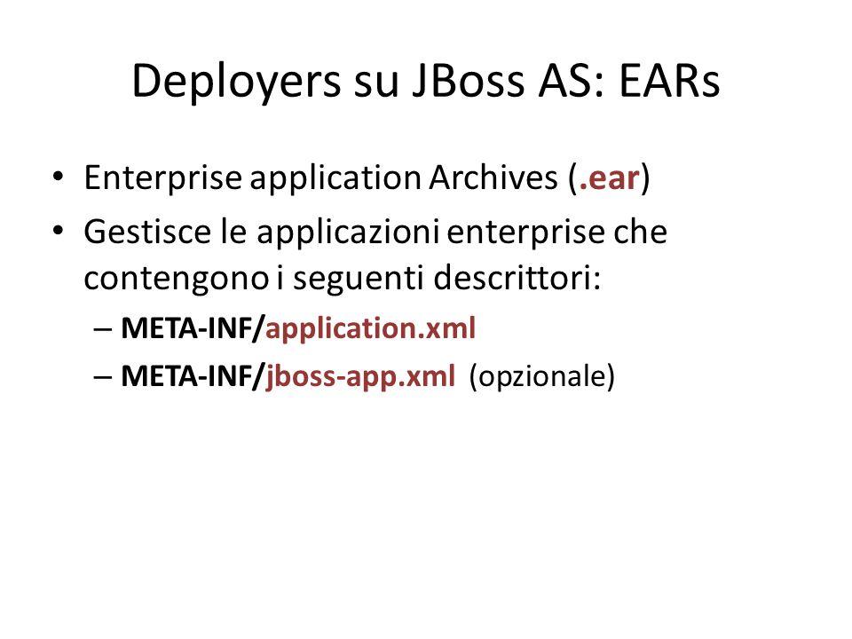 Deployers su JBoss AS: EARs Enterprise application Archives (.ear) Gestisce le applicazioni enterprise che contengono i seguenti descrittori: – META-INF/application.xml – META-INF/jboss-app.xml (opzionale)
