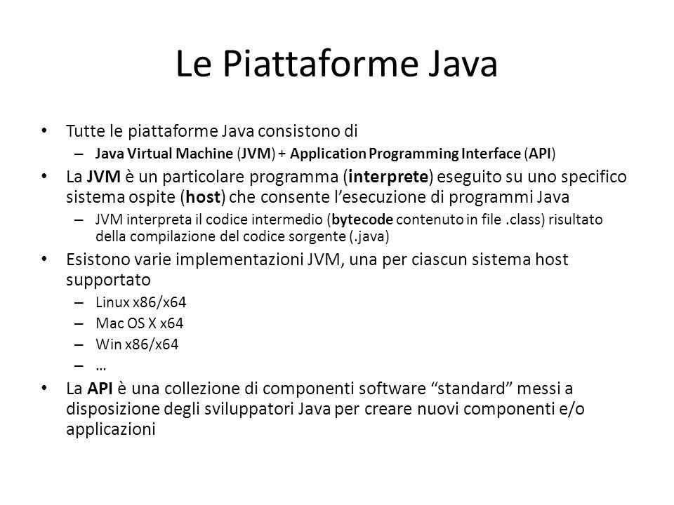 Le Piattaforme Java Tutte le piattaforme Java consistono di – Java Virtual Machine (JVM) + Application Programming Interface (API) La JVM è un particolare programma (interprete) eseguito su uno specifico sistema ospite (host) che consente l'esecuzione di programmi Java – JVM interpreta il codice intermedio (bytecode contenuto in file.class) risultato della compilazione del codice sorgente (.java) Esistono varie implementazioni JVM, una per ciascun sistema host supportato – Linux x86/x64 – Mac OS X x64 – Win x86/x64 – … La API è una collezione di componenti software standard messi a disposizione degli sviluppatori Java per creare nuovi componenti e/o applicazioni