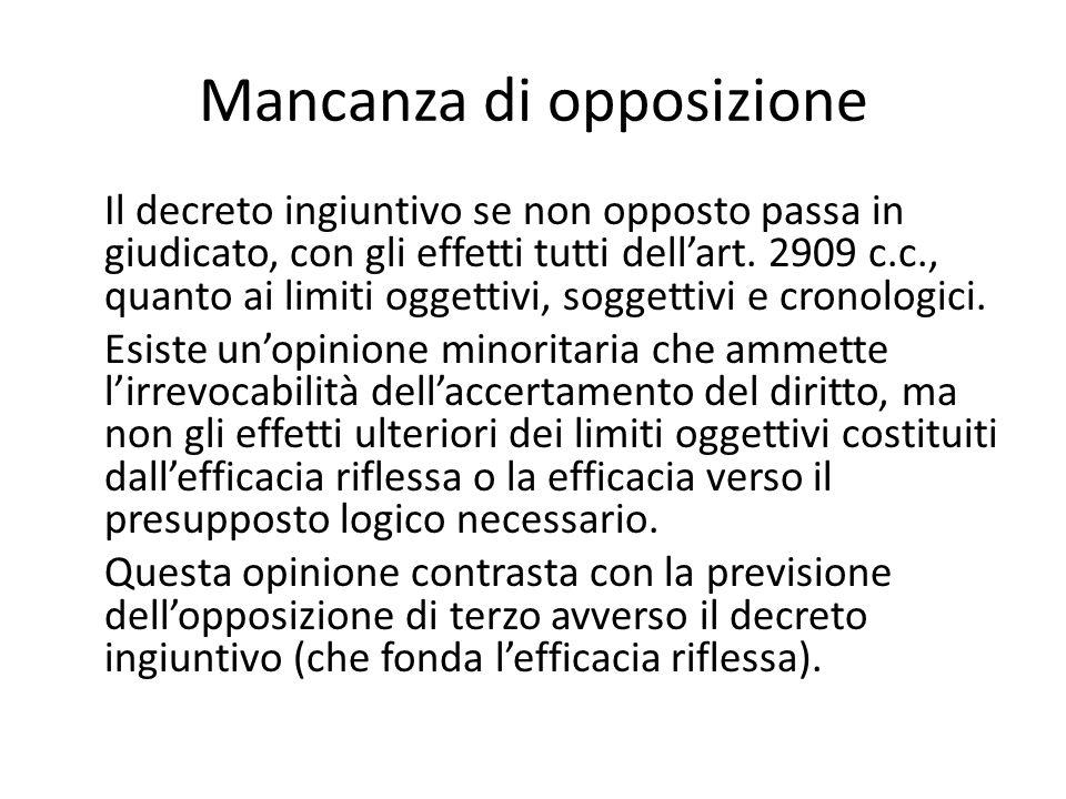 Mancanza di opposizione Il decreto ingiuntivo se non opposto passa in giudicato, con gli effetti tutti dell'art. 2909 c.c., quanto ai limiti oggettivi