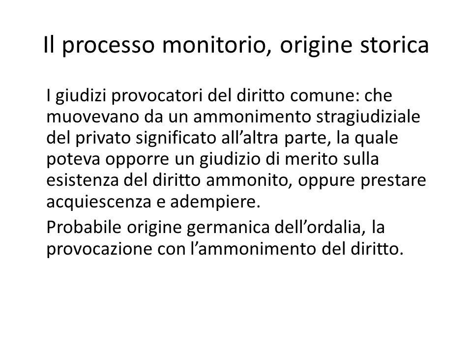 Il processo monitorio, origine storica I giudizi provocatori del diritto comune: che muovevano da un ammonimento stragiudiziale del privato significat