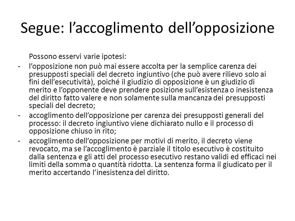 Segue: l'accoglimento dell'opposizione Possono esservi varie ipotesi: -l'opposizione non può mai essere accolta per la semplice carenza dei presuppost