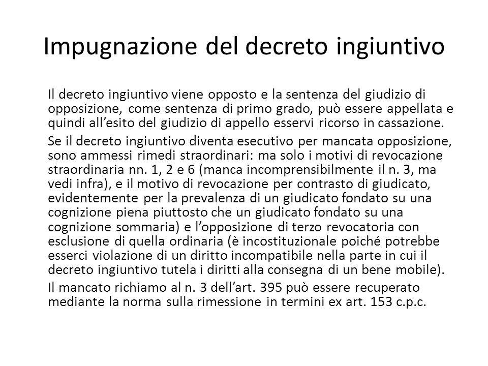 Impugnazione del decreto ingiuntivo Il decreto ingiuntivo viene opposto e la sentenza del giudizio di opposizione, come sentenza di primo grado, può e
