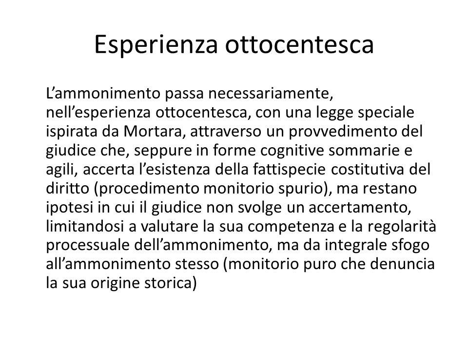 Esperienza ottocentesca L'ammonimento passa necessariamente, nell'esperienza ottocentesca, con una legge speciale ispirata da Mortara, attraverso un p