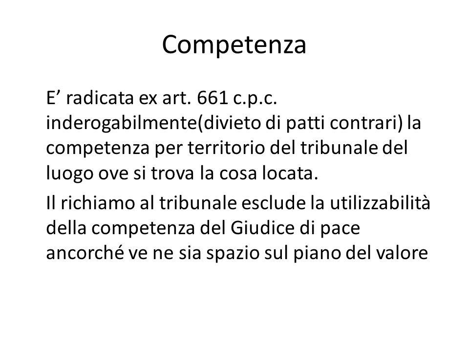 Competenza E' radicata ex art. 661 c.p.c. inderogabilmente(divieto di patti contrari) la competenza per territorio del tribunale del luogo ove si trov