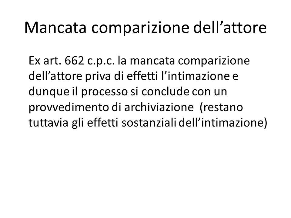 Mancata comparizione dell'attore Ex art. 662 c.p.c. la mancata comparizione dell'attore priva di effetti l'intimazione e dunque il processo si conclud