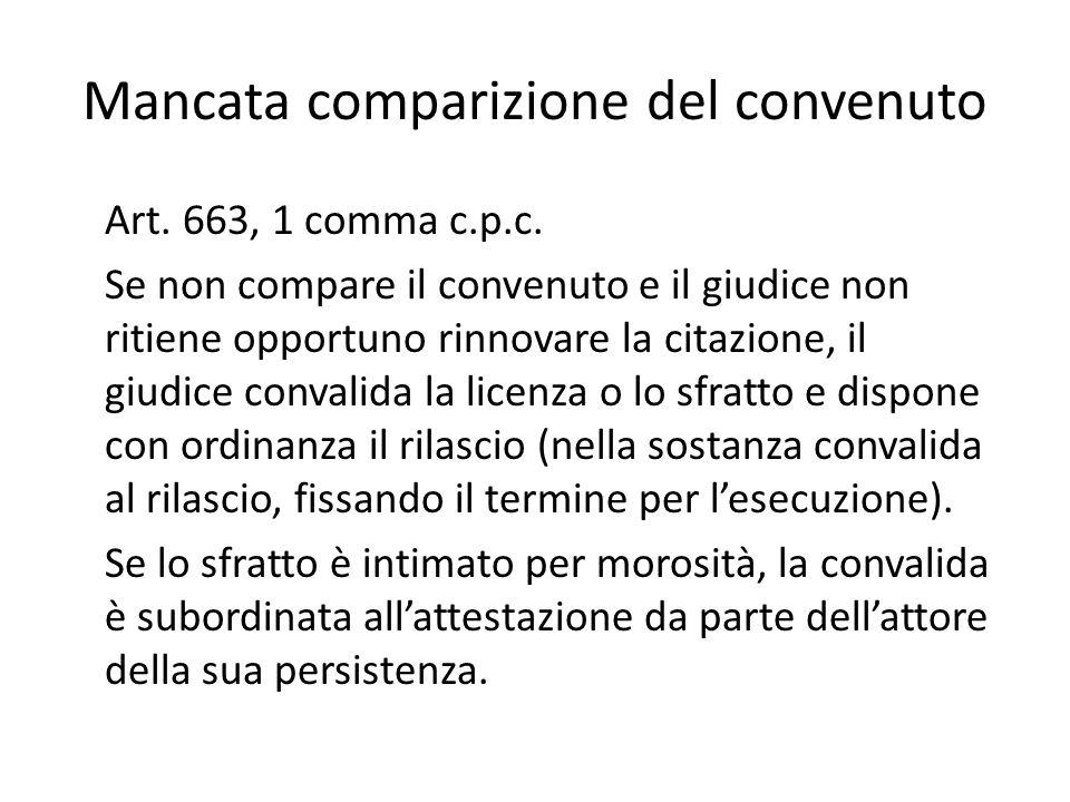 Mancata comparizione del convenuto Art. 663, 1 comma c.p.c. Se non compare il convenuto e il giudice non ritiene opportuno rinnovare la citazione, il