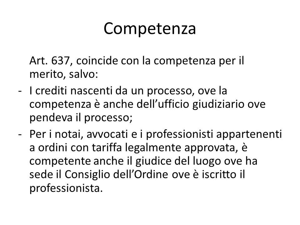 Competenza Art. 637, coincide con la competenza per il merito, salvo: -I crediti nascenti da un processo, ove la competenza è anche dell'ufficio giudi