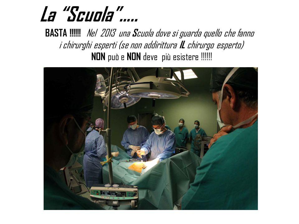 """La """"Scuola""""….. BASTA !!!!!! Nel 2013 una S cuola dove si guarda quello che fanno i chirurghi esperti (se non addirittura IL chirurgo esperto) NON può"""
