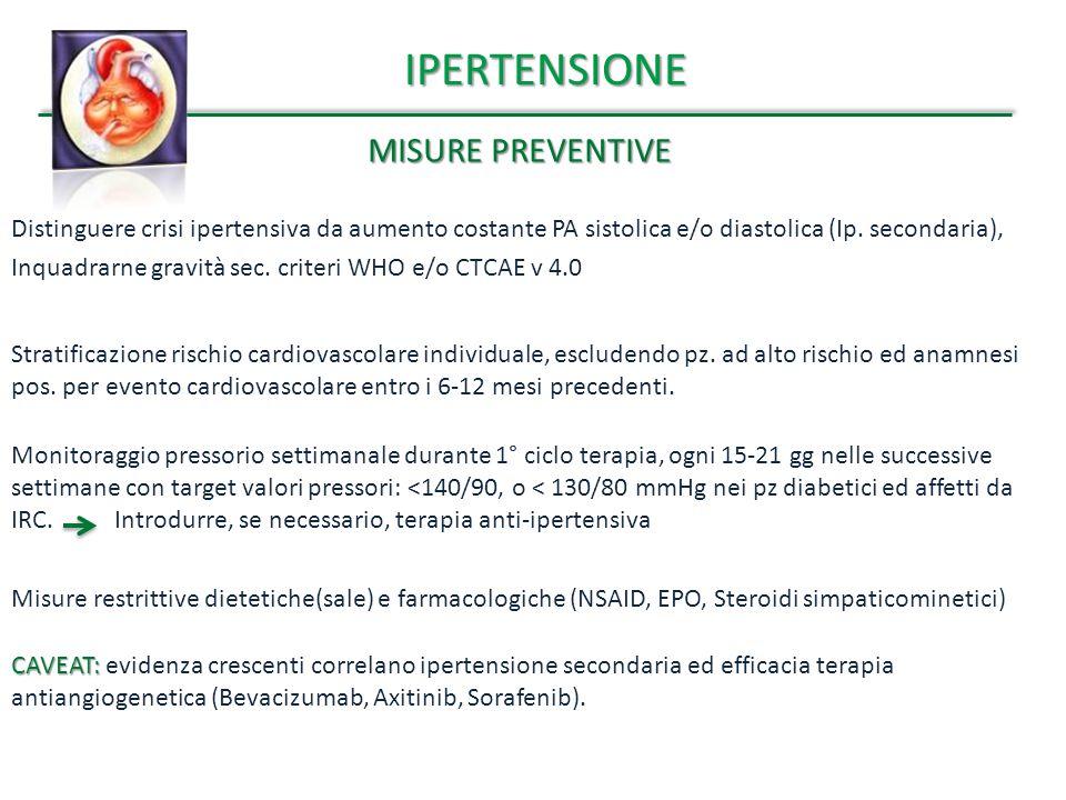 IPERTENSIONE MISURE PREVENTIVE Distinguere crisi ipertensiva da aumento costante PA sistolica e/o diastolica (Ip. secondaria), Inquadrarne gravità sec