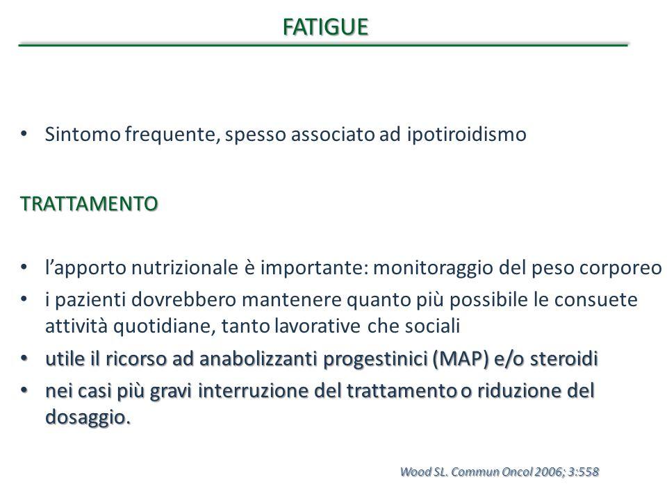 FATIGUE Sintomo frequente, spesso associato ad ipotiroidismoTRATTAMENTO l'apporto nutrizionale è importante: monitoraggio del peso corporeo i pazienti