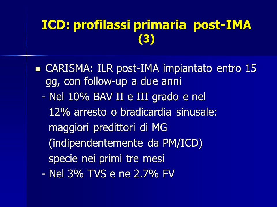 ICD: profilassi primaria post-IMA (3) CARISMA: ILR post-IMA impiantato entro 15 gg, con follow-up a due anni CARISMA: ILR post-IMA impiantato entro 15 gg, con follow-up a due anni - Nel 10% BAV II e III grado e nel - Nel 10% BAV II e III grado e nel 12% arresto o bradicardia sinusale: 12% arresto o bradicardia sinusale: maggiori predittori di MG maggiori predittori di MG (indipendentemente da PM/ICD) (indipendentemente da PM/ICD) specie nei primi tre mesi specie nei primi tre mesi - Nel 3% TVS e ne 2.7% FV - Nel 3% TVS e ne 2.7% FV