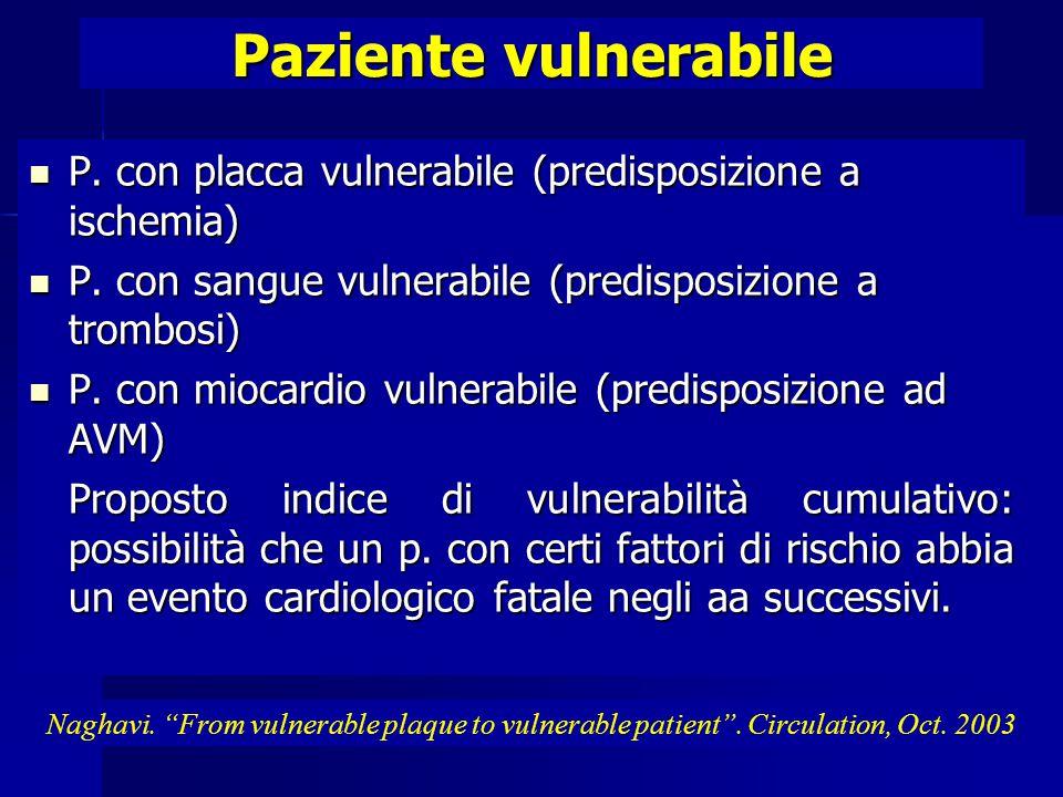 Paziente vulnerabile P.con placca vulnerabile (predisposizione a ischemia) P.
