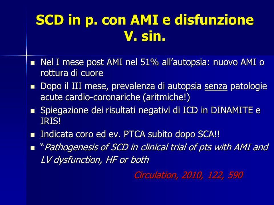 SCD in p.con AMI e disfunzione V. sin.