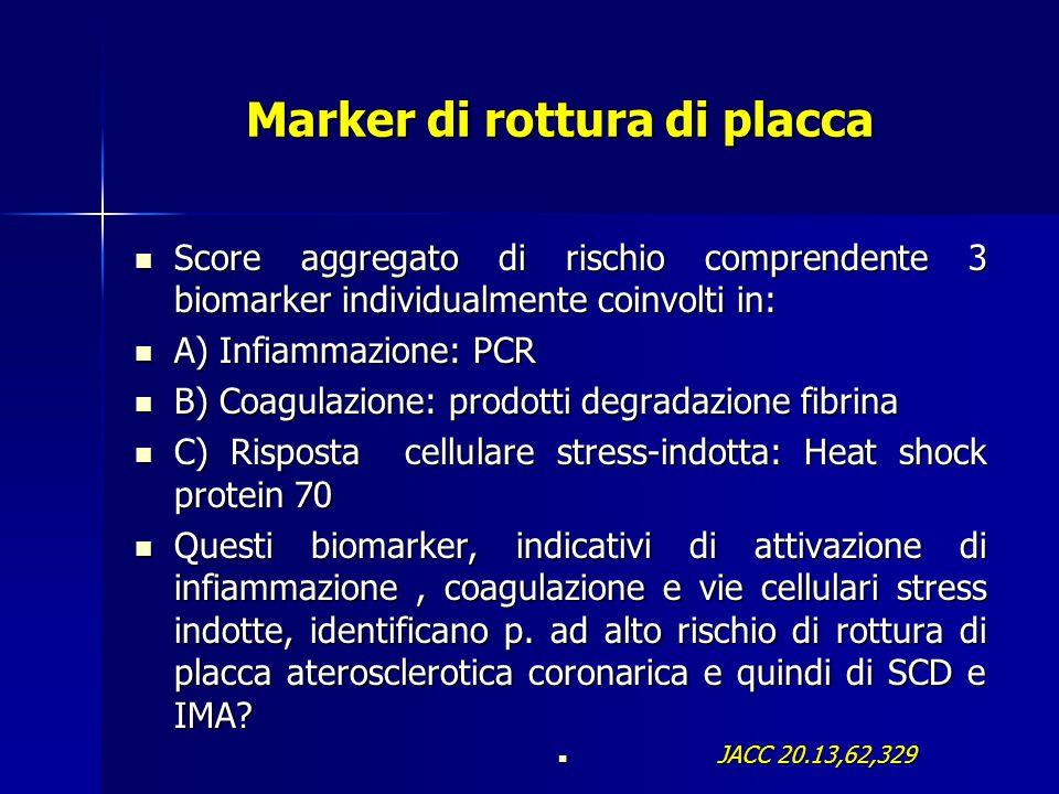 Marker di rottura di placca Score aggregato di rischio comprendente 3 biomarker individualmente coinvolti in: Score aggregato di rischio comprendente 3 biomarker individualmente coinvolti in: A) Infiammazione: PCR A) Infiammazione: PCR B) Coagulazione: prodotti degradazione fibrina B) Coagulazione: prodotti degradazione fibrina C) Risposta cellulare stress-indotta: Heat shock protein 70 C) Risposta cellulare stress-indotta: Heat shock protein 70 Questi biomarker, indicativi di attivazione di infiammazione, coagulazione e vie cellulari stress indotte, identificano p.