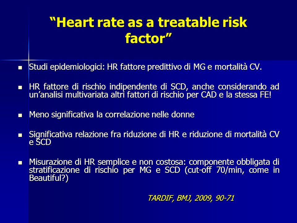 Heart rate as a treatable risk factor Studi epidemiologici: HR fattore predittivo di MG e mortalità CV.