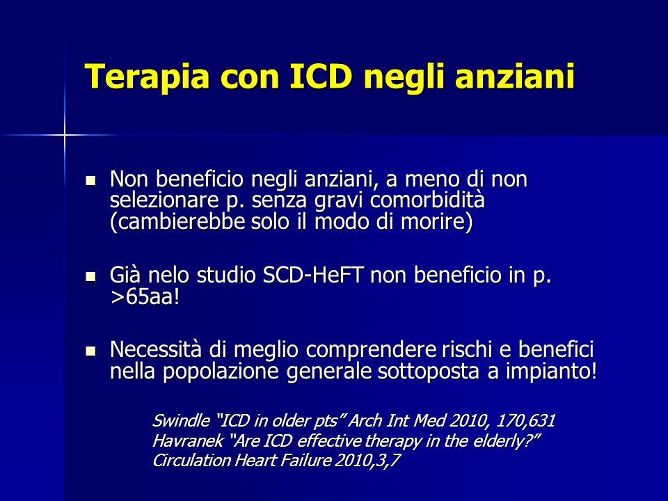 Terapia con ICD negli anziani Non beneficio negli anziani, a meno di non selezionare p.