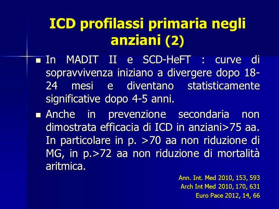 ICD profilassi primaria negli anziani (2) In MADIT II e SCD-HeFT : curve di sopravvivenza iniziano a divergere dopo 18- 24 mesi e diventano statisticamente significative dopo 4-5 anni.
