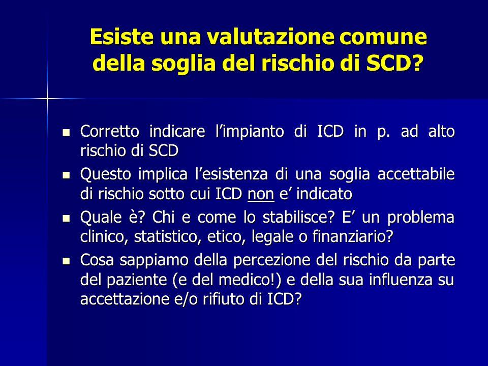 Esiste una valutazione comune della soglia del rischio di SCD.