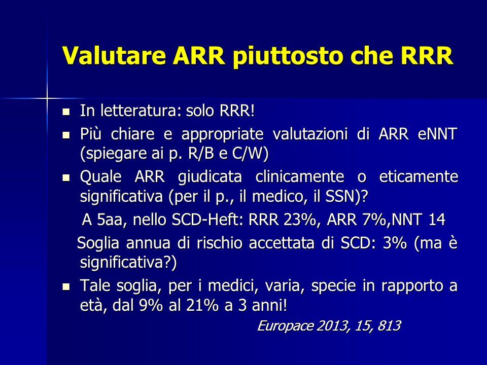 Valutare ARR piuttosto che RRR In letteratura: solo RRR.