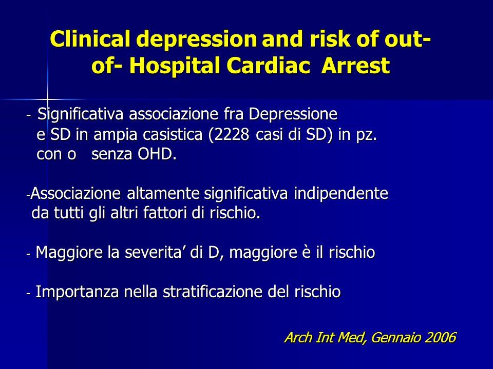 Clinical depression and risk of out- of- Hospital Cardiac Arrest - Significativa associazione fra Depressione e SD in ampia casistica (2228 casi di SD) in pz.